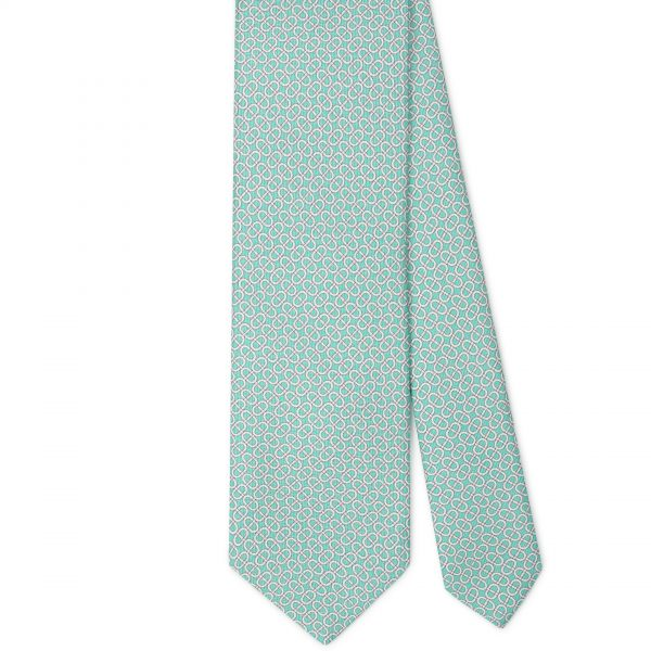 Viola Milano Printed Silk Tie - Maillon Chain Pattern Menthol Mix