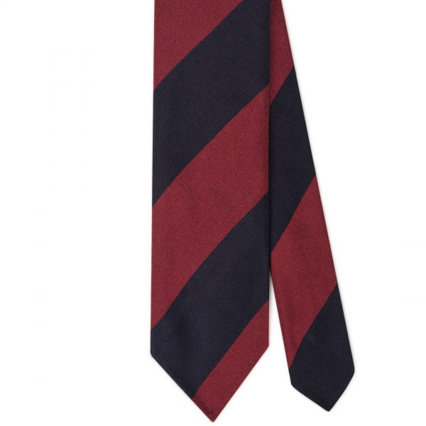 Viola Milano Block Stripe Woven Silk Tie - Navy/Wine