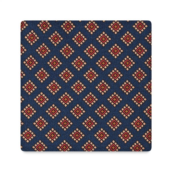 Viola Milano Printed Silk Tie - Diamond Pattern Navy