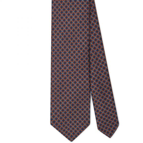 Viola Milano Printed Silk Tie - Floral Pattern Brown Mix