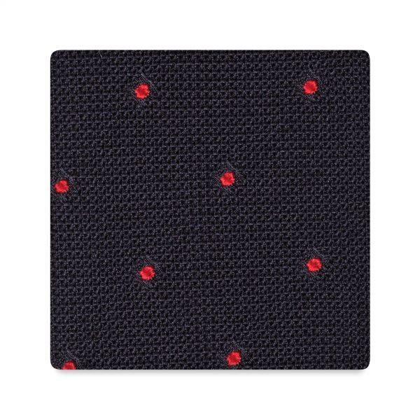 Viola Milano Polka Dot Handrolled Grenadine Tie - Navy Red