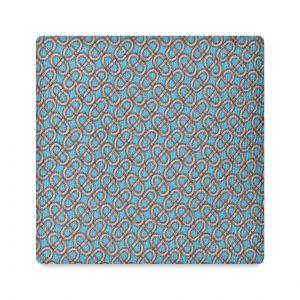 Viola Milano Printed Silk Tie - Maillon Chain Pattern Light Blue/ Pink
