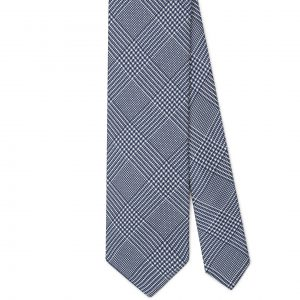 Viola Milano Prince Of Wales Vintage Silk Tie – Blue