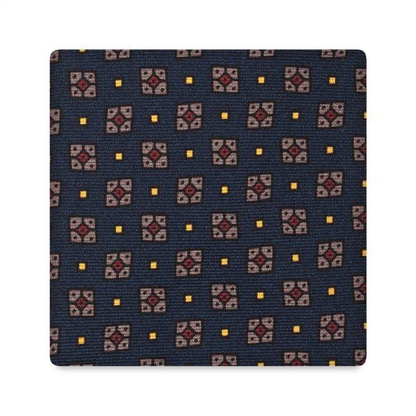 Viola Milano Printed Silk Tie - Cube Floral Pattern Navy