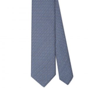 Viola Milano Printed Silk Tie - Maillon Chain Pattern Navy/ Sea