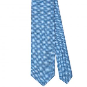 Viola Milano Printed Silk Tie - Star Pattern Blue