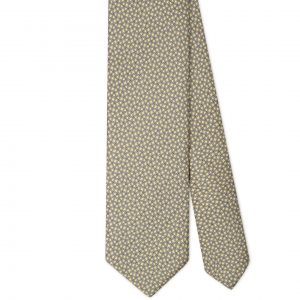 Viola Milano Printed Silk Tie - Maillon Chain Pattern Yellow