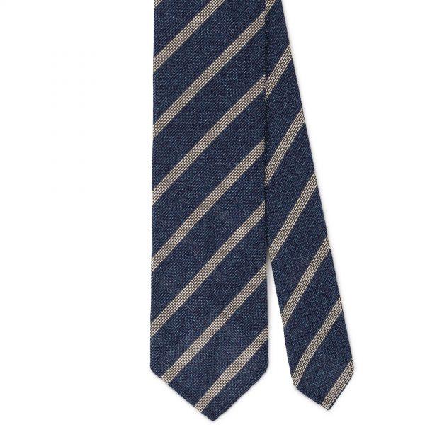 Viola Milano Classic Stripe 3-Fold Grenadine Tie - Sea/White