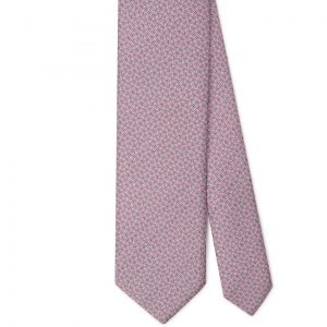 Viola Milano Printed Silk Tie - Maillon Chain Pattern Pink