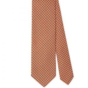Viola Milano Printed Silk Tie - Chain Pattern Orange