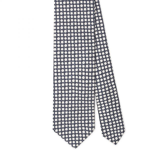 Viola Milano Printed Silk Tie - Floral Chain Pattern White