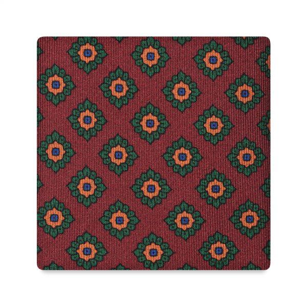 Viola Milano Printed Silk Tie - Rosette Pattern Wine
