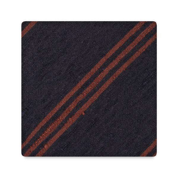 Viola Milano Shantung Stripped Silk Tie – Navy Brown