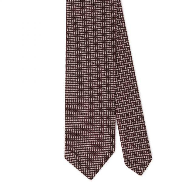 Viola Milano Printed Silk Tie - Classic Circle Selftipped Italian Tie Brown Mix
