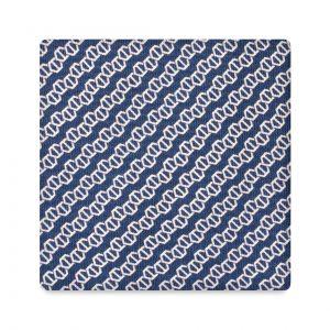 Viola Milano Printed Silk Tie - Chain Pattern Navy/White
