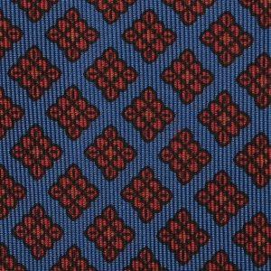Viola Milano Printed Ancient Madder Silk Tie - Diamond Pattern Sea