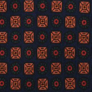 Viola Milano Printed Madder Silk Tie - Diamond Floral Pattern Navy Mix