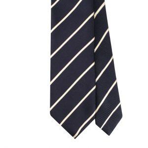 Viola Milano Block Stripe Woven Silk Jacquard Tie - Navy/White