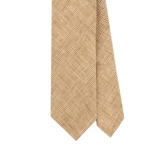 Viola Milano Prince Of Wales Untipped Linen Tie – Natural Mix