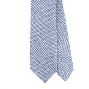 Viola Milano Prince Of Wales Untipped Linen Tie – Light Blue